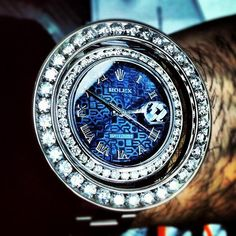 Blue Rolex DataJust Amazing Iced Out Watch! #Rolex #Diamond #Custom #TraxNYC  #Hiphop #Swag #Dope