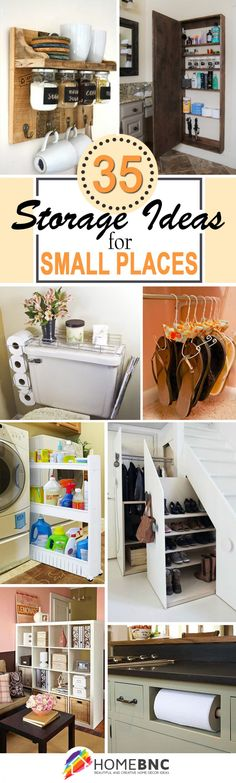 35 Best Storage Ideas and Projects for Small Spaces in 2019 Storage Hacks, Storage Ideas, Creative Storage, Hidden Storage, Home Organization, Small Space Organization, Diy Storage For Small Spaces, Organization Station, Small Room Interior