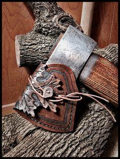 Vintage Hults Bruks Axe w/Leather Oak Leaf Sheath by John Black