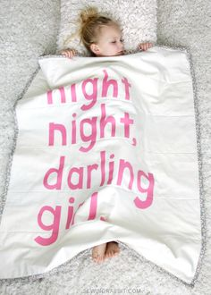 Night, Night, Darling Girl Baby Blanket // FREE pattern available at Blog.Joann.com