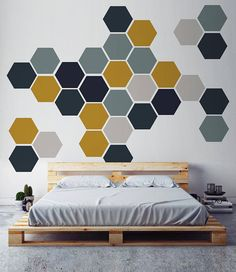 Excited to share the latest addition to my shop: Removable Honeycomb Wall Decal, 8 Hexagon Stickers per pack, Self Adhesive Canvas Art Sticker, Geometric Design Creative Wall Painting, Room Wall Painting, Creative Walls, Room Paint, Wall Paintings, Bedroom Wall Designs, Bedroom Murals, Interior Walls, Interior Design