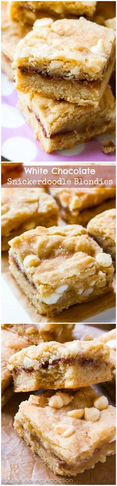 These cinnamon swirled White Chocolate Snickerdoodle Blondies are amazing! A cross between a chewy blondie and moist butter cake.
