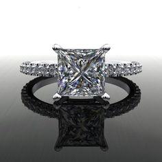 Forever Brilliant Moissanite and Diamonds Princess Cut Engagement Ring – Bel Viaggio Designs