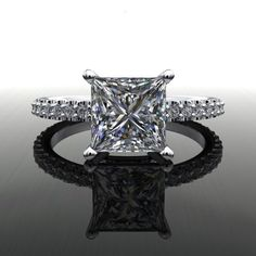 Forever Brilliant Moissanite and Diamonds Princess Cut Engagement Ring – Bel Viaggio Designs