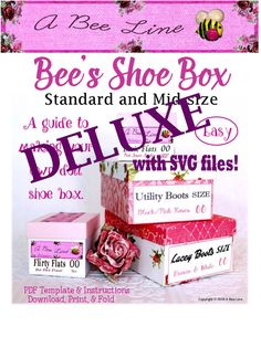 Bee's Shoe Box Deluxe version Do you need shoe boxes for all those doll shoes you have around?  Do you make and sell doll shoes and need a nice presentation?  Here is my guide and patterns to make your own AG size shoe boxes.  I even have SVG cut files for your electronic cutting machines!