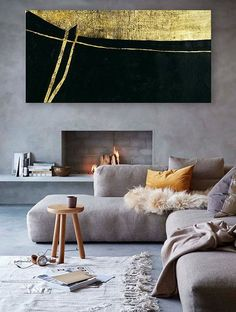 Horizontal Canvas Art , Contemporary Painting Large Canvas Wall Art,  Minimalist Painting Modern Art Black And Gold Leaf Art For Modern Home