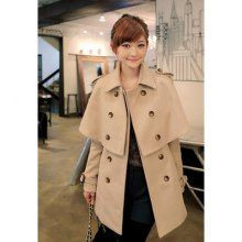 Double-Breasted Cape Design Woolen Fabric Women's Coat With Belt