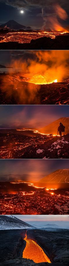 Erupting Volcano Tolbachik on the Kamchatka Peninsula in Russia