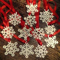 Snowflakes Christmas ornaments hama beads by Maria Skau Fuse Bead Patterns, Beading Patterns, Holiday Crafts, Christmas Crafts, Christmas Ornaments, Christmas Perler Beads, Beading For Kids, Advent, Perler Bead Art