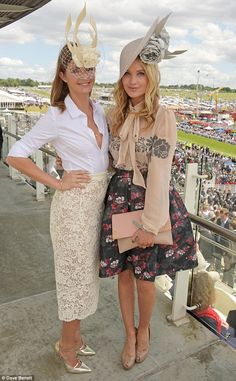 Close friends: Millie chose a classic colour palette for her look, while fashion forward Laura opted for clashing floral prints