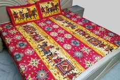A colorful #sheet depicting Indian Marriage ceremonial. This bed sheet is good for gifting or personal use, made in #cotton fabric its easy to wash and care. It contains #bedsheet with two standard size pillow covers. If you wish to gift someone for marriage occasion or like to use persoanlly at home, we are making it available to you.