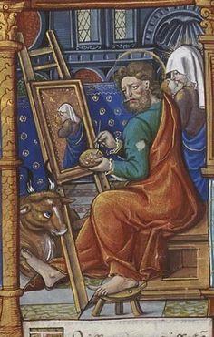 San Lucas pintando el retarto de la Virgen. Biblioteca Nacional de Holanda. Manuscrito MMW 10 F33. Hacia 1524.