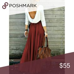 """Wine Draped Open Back Maxi🍁Perfect for Fall This super cute maxi is perfect for fall. It features an off-white top with flowing wine colored skirt. Stretchable to ensure that perfect fit. Dress it up with a boho belt to achieve that ultimate chic look! Medium: waist 26"""" and length 55"""". Only one available. Also available in khaki in small and medium in my closet. MCMD Dresses Maxi"""