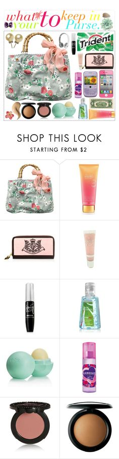 """""""In Your Purse."""" by polyvoretipgirly ❤ liked on Polyvore featuring Abercrombie & Fitch, Victoria's Secret, Juicy Couture, 1928, Eos, Justin Bieber, Too Faced Cosmetics, MAC Cosmetics and Dahlia"""