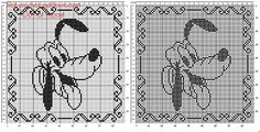 Free crochet filet pattern baby pillow with Disney Pluto 90 squares - free filet crochet patterns download