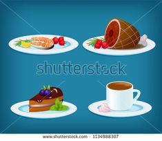 Vector food set - plate with grilled fish, lemon and vegetables, grilled meat and tomato, blackberry cake and mint, coffee cup with zephyr marshmellow