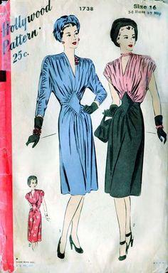 Vintage 1940s Day Dress Pattern  Hollywood by FloradoraPresents - Oh those 40s patterns!