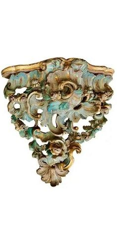 Pair of German polychrome wall brackets, Period Rococo foliate with scrolling. Original paint and gilding. Obviously to emulate the magnificent Meissen Porcelain Brackets found in Royal Households. x W x cm Wall Brackets, Households, Wood Carvings, Rococo, 18th Century, Decorative Bowls, Period, German, Porcelain
