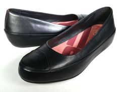 FITFLOP 8.5 BLACK Leather Ballet Flats Premium Leather Toning  *EXCELLENT* sz 39 #FitFlop #BalletFlats