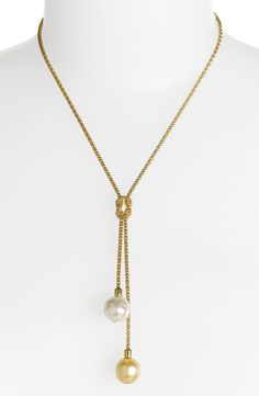 'Love Knot' 14mm Pearl Lariat Necklace