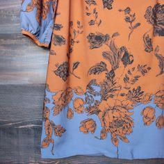 [contemporary] boho midi shift dress in rust