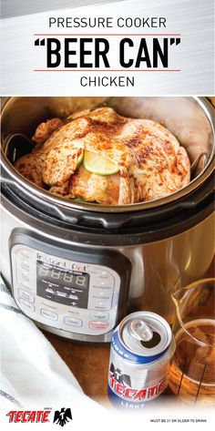 """You love pairing Tecate Light with any meal. So to enjoy its bold flavor in a whole new way check out this recipe for Pressure Cooker """"Beer Can"""" Chicken with Beer-Infused Gravy! With fresh citrus and a spike of Mexican beer this quick dinner idea is su Power Cooker Recipes, Pressure Cooking Recipes, Crock Pot Cooking, Crockpot Recipes, Cooking Food, Cooking Lamb, Beer Recipes, Quick Recipes, Copycat Recipes"""