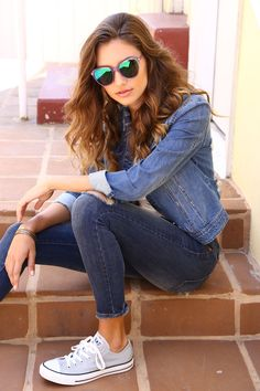 This is a classic look of Special A. We love matching denim over denim! #specialajeans #denimwear #denimjacket #skinnyjeans