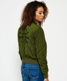 bc9b81811f7 Superdry women s quilted Utility bomber jacket. This heavyweight quilted  bomber jacket features a statement embroidered