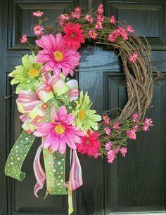 Pink and Green XL Daisy Wreath 20 inch Spring and Summer Wreath Crafts, Diy Wreath, Wreath Ideas, Grapevine Wreath, Tulle Wreath, Easter Wreaths, Holiday Wreaths, Deco Mesh Wreaths, Door Wreaths