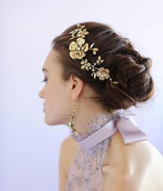 Dogwood Flower and Rose Headpiece features antique gold plated floral details and hand placed Swarovski crystals and pearls by Myrakim via etsy