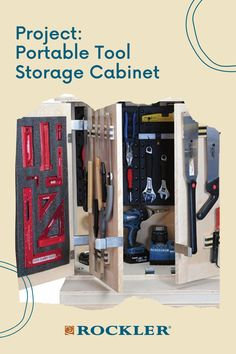 Build this portable cabinet for your shop! Moveable storage that keeps your tools organized and readily at hand. Download it for free here. #CreateWithConfidence #ShopStorage #Portable #FreeWoodworkingPlan #ShopOrganization Shop Storage, Locker Storage, Woodworking Shop, Woodworking Plans, Tool Storage Cabinets, Plunge Router, Plywood Panels, Workshop Organization, Upper Cabinets