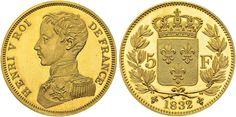 France AV 5 Francs 1832 (Peifort) Paris Mint Henri V Pretender