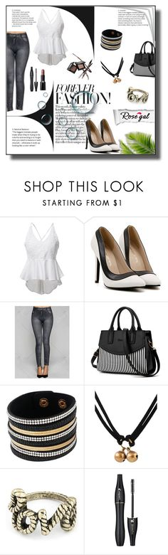"""Rosegal"" by markitahamilton3 ❤ liked on Polyvore featuring Monique Lhuillier, Lancôme and Giorgio Armani"