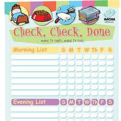 If you need a creative way to help get your kids to do their chores try iMOM's Check, Check, Done Checklist for kids.