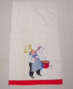 Vintage Towel Cook Tastes His Creation by unclebunkstrunk on Etsy