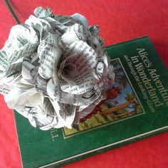 Alice in Wonderland Book Paper Roses - New Listing