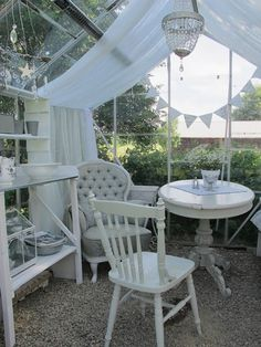 MIN VITA SPETS Outdoor Rooms, Outdoor Gardens, Outdoor Living, Outdoor Furniture Sets, Outdoor Decor, White Wisteria, Garden Seating, Shabby Chic Cottage, Glass House