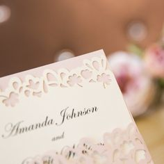 Elegant Rustic Blush Layered Laser Cut Belly Band Wedding Invitations SWWS021_1