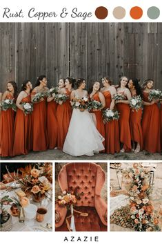 Burnt orange hues are complemented by fresh greenery in this bride's beautiful wedding color palette. Bridesmaid dresses are from Azazie in the color Rust. Photo credit: Wander Love Photography Source by c_schillmann wedding colors Burnt Orange Bridesmaid Dresses, Burnt Orange Weddings, Orange Wedding Colors, Fall Wedding Colors, Autumn Wedding, Wedding Color Schemes, November Wedding Colors, Country Wedding Colors, Coral Weddings