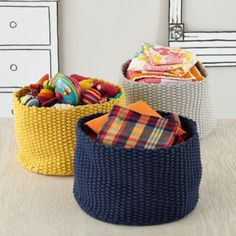 Kneatly Knit Large Storage Bins // so many fun storage baskets at Land of Nod Large Storage Bins, Storage Baskets, Bag Storage, Storage Containers, Doll Storage, Gift Baskets, Kids Toy Boxes, Land Of Nod, Best Baby Gifts