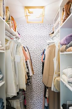 bright and very small tiny closet makeover featuring removable wallpaper and gold flush mount light in closet with ample shelving for sweaters and white hangers Closet Redo, Tiny Closet, Small Closets, Closet Bedroom, Dream Closets, Open Closets, Small Bedrooms, Tiny Master Bedroom, Closet Racks