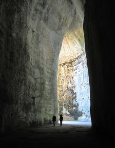 The Ear of Dionysius -- limestone cave carved out of the Temenites hill in the city of Syracuse