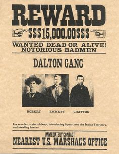 The Dalton gang were also known as the 'Wild Bunch' one of the most famous train robbing families in American history. Emmett Dalton was the ringleader and the only survivor of the famous Coffeyville shootout in Westerns, Dalton Gang, Wild West Outlaws, Famous Outlaws, Old West Photos, Western Photo, Western Art, Wild West Cowboys, Into The West