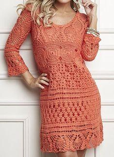 Pattern in Portueguese Long Sleeve Dress Orange