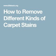 How to Remove Different Kinds of Carpet Stains