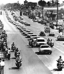 Elvis Presley funeral cortege...he died on my 5th birthday.  I remember it vividly.