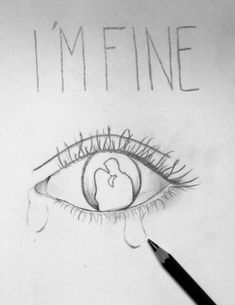 Just a quick breaktime drawing (didn't done my best) Sad Sketches, Sad Drawings, Dark Art Drawings, Pretty Drawings, Art Drawings Sketches, Pencil Art Drawings, Depressing Paintings, Sad Paintings, Small Canvas Paintings