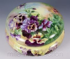 LIMOGES HAND PAINTED PANSIES JEWELRY DRESSER BOX