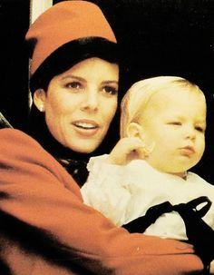 Princess Caroline of Monaco with son Andrea Casiraghi.November 19,1985.