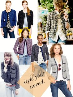 how to style a tweed jacket - use for ideas for my trapeze jacket 1. Basic white tee 2. Polka dots 3. Stripes 4. Patterned top 5. Chambray Spring outfit idea